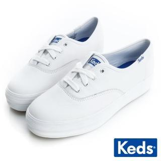 【Keds】Keds 品牌經典厚底皮質綁帶休閒鞋(白)
