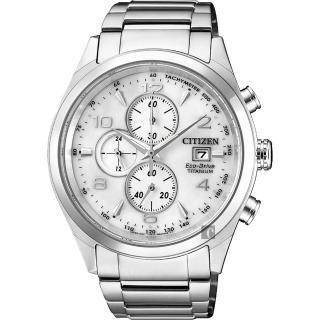 【CITIZEN】星辰 超級鈦 光動能計時碼錶-銀/42mm(CA0650-82A)