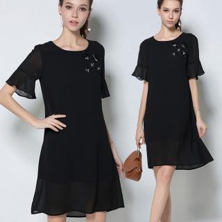 【麗質達人中大碼】2746釘珠黑色雪紡洋裝(M-5XL)