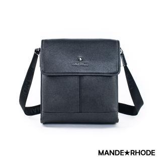 【MANDE RHODE 曼德羅德】里米尼-直立式多夾層側背包(紳士黑)