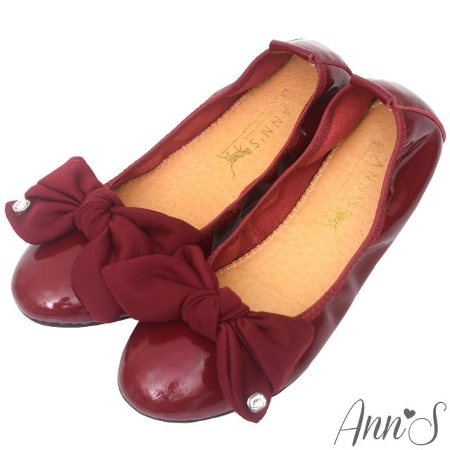 【Ann'S】甜美泡泡糖-大蝴蝶結水鑽小羊漆皮平底娃娃鞋(酒紅)