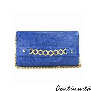 【Continuita 康緹尼】頭層牛皮歐洲時尚金璀晚宴手拿包(藍色)