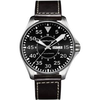 【Hamilton】漢米爾頓 卡其飛行員機械錶-黑x咖啡/46mm(H64715535)