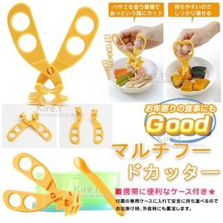 【kiret】超值2入 多功能食物剪刀-贈收納研磨兩用盒 多色隨機(食物安全剪刀 輔食剪刀 剪麵夾)