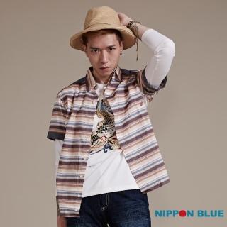 【BLUE WAY】復古風橫條紋短袖襯衫-日本藍