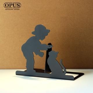【OPUS東齊金工】歐式鐵藝書擋/創意書架/金屬立書夾/書本收納架/桌上型(NE-bo16B 童伴_經典黑)