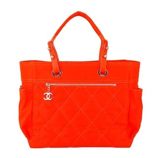 【CHANEL】Paris-Biarritz巴黎系列菱格紋購物托特包(螢光橘)