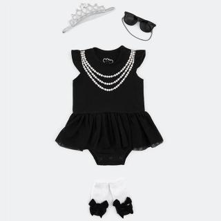 【日安朵朵】女嬰經典禮盒–奧黛莉赫本 MIT台灣製連身衣+襪子+太陽眼鏡(長短袖包屁衣寶寶彌月滿月禮)