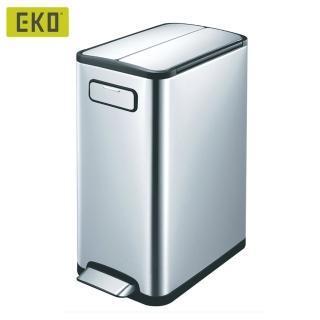 【EKO】雙開蓋蝶韻靜音垃圾桶20L(居家/客廳/廚房/衛浴/收納桶/不鏽鋼垃圾桶/緩降垃圾桶/回收桶)