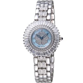 【Ogival 愛其華】炫麗山茶花系列珠寶錶(305-20DLW 藍)