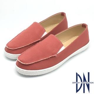 【DN】休閒舒適 不修邊造型牛仔染布平底鞋(橘)