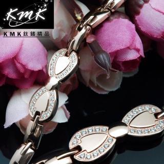 【KMK鈦鍺精品】舞會-玫瑰金(純鈦+晶鑽+磁鍺健康手鍊)