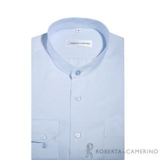 【ROBERTA諾貝達】台灣製 吸溼速乾防汙 圓領條紋長袖襯衫(淡藍)