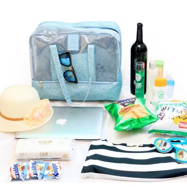 【JIDA】420D防水小清新雙層乾濕兩用手提收納袋/戶外包(4色)