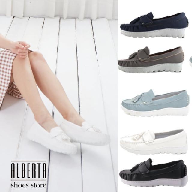 【Alberta】MIT台灣製皮革流蘇3CM厚底包鞋小白鞋樂福鞋莫卡辛娃娃鞋(藍)
