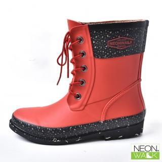 【Neon Walk 尼沃】雪花馬丁中筒-紅色(雨鞋 雨靴 長筒雨靴 中筒靴 高筒靴 neonwalk)