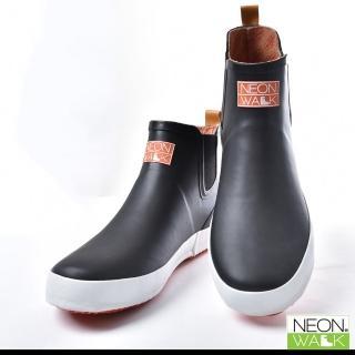 【Neon Walk 尼沃】男款短筒休閒雨靴-黑色(雨鞋 雨靴 長筒雨靴 中筒靴 高筒靴 neonwalk)