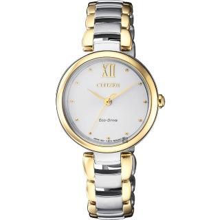 【CITIZEN】星辰 L系列 光動能手鍊女錶-銀x雙色版/28mm(EM0534-80A)