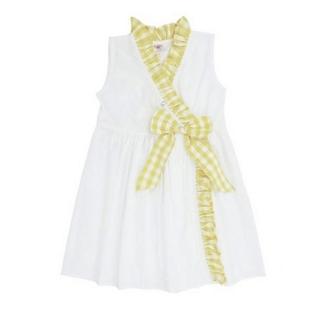 【美國 RuffleButts】寶寶/兒童洋裝_白色/黃格子洋裝(RBD05)