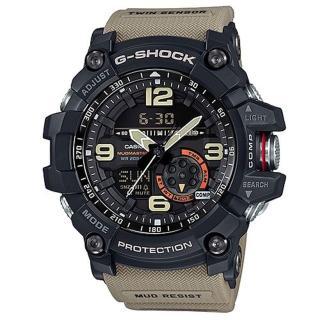 【CASIO】G-SHOCK 極限陸上冒險家軍事造型雙顯錶-卡其(GG-1000-1A5)