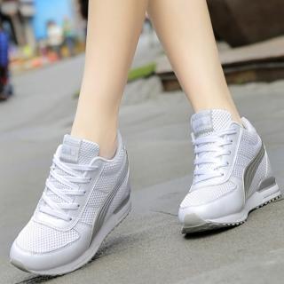 【JC collection】厚底內增高網布透氣綁帶休閒鞋(白)