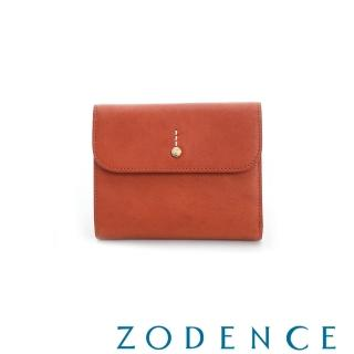 【ZODENCE】義大利植鞣革金點設計多卡短夾(橘紅)