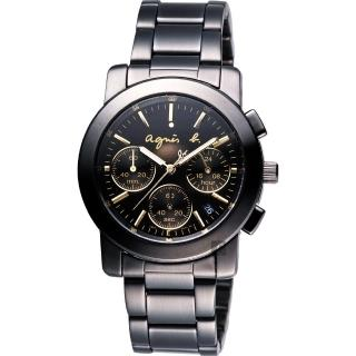 【agnes b.】魔幻煥彩三眼計時腕錶-38mm(VD53-KP30G  BT3033X1)