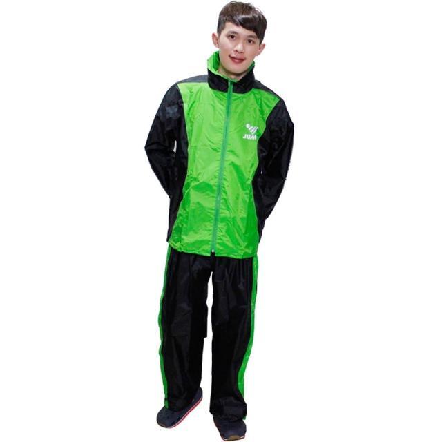 【JUMP】新二代挺酷套裝休閒風雨衣-黑綠+通用鞋套