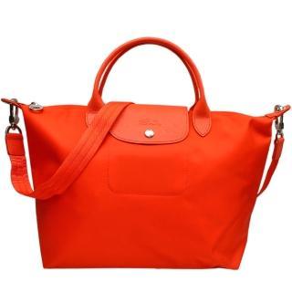 【Longchamp】限量款 質感厚尼龍短提把/斜背兩用包(中/橘紅)