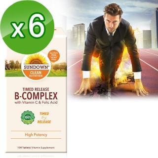 【美國Sundown日落恩賜】高單位緩釋型B群+C-B12強化配方100錠(6瓶組)