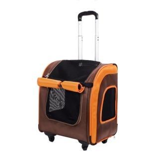 【IBIYAYA依比呀呀】新LISO後背平行寵物拉桿包-咖啡橘(FC1705)