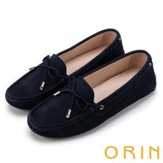 【ORIN】經典復古時尚 真皮手縫平底帆船鞋(藍色)