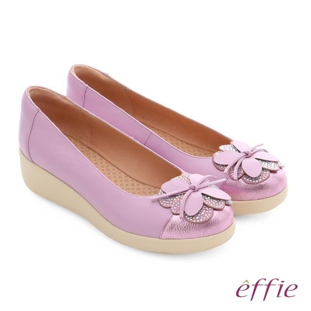 【effie】輕漾漫步 真皮花朵奈米休閒鞋(淺紫)