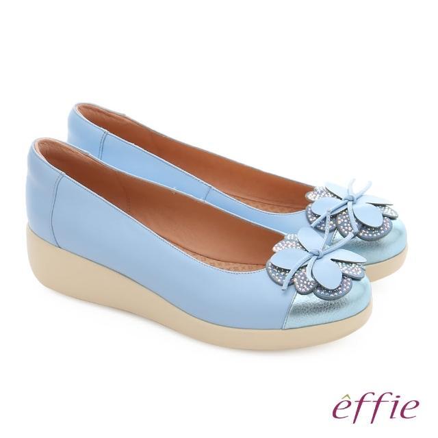 【effie】輕漾漫步 真皮花朵奈米休閒鞋(淺藍)