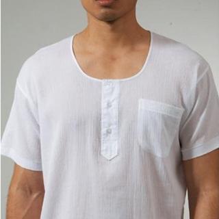 【三槍牌】3件組時尚型男縐縐布半門襟短袖衫(白)