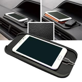 【日本YAC】PZ-644立體凹槽皮革紋止滑墊-L(汽車|收納置物|手機架)