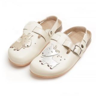 【Jingle】可愛小山羊前包後空軟木休閒鞋(百搭米大人款)