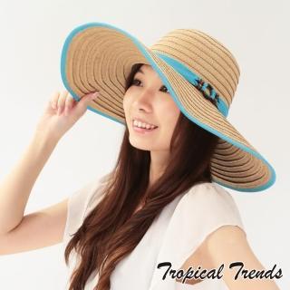 【美國 Tropical Trends】配色飾帶大帽簷渡假風遮陽草帽(天藍色)