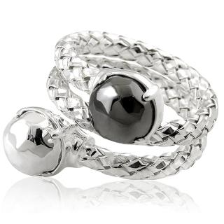 【MONT BLANC 萬寶龍】編織雙圈造型純銀戒指-銀色(52號)
