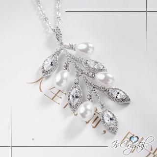 【伊飾晶漾】鋯石葉片*搖曳碎鑽珍珠項鍊