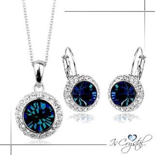 【伊飾晶漾】夜之眼*藍水晶圈式耳環/項鍊組