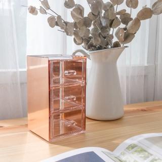 【目喜生活】桌上型實用金屬壓克力抽屜(3格辦公室小收納盒)