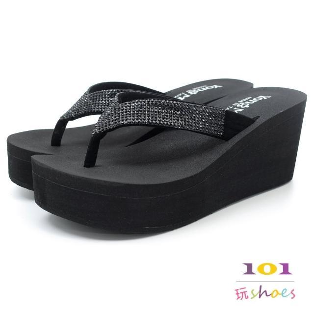 【101玩shoes】mit.時尚質感亮鑽海綿高台夾腳拖鞋(黑色.35-39碼)