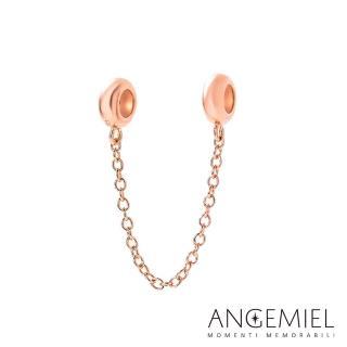 【Angemiel安婕米】925純銀珠飾 安全鍊 簡約(玫瑰金)