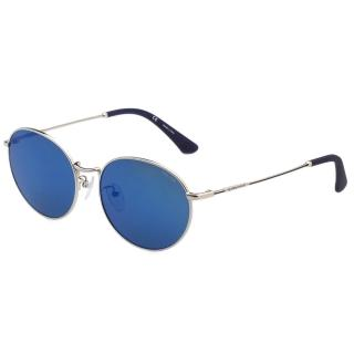 【POLICE】復古圓框 水銀面 太陽眼鏡(銀色)
