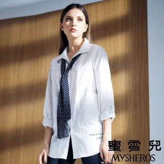 【蜜雪兒mysheros】純棉雪紡絲巾反摺襯衫(白)