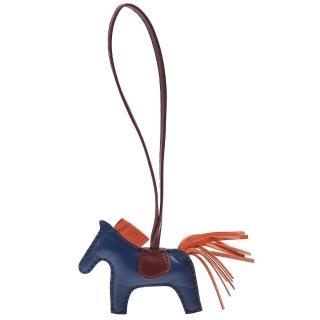 【HERMES】RODEO PM馬兒造型拼色小羊皮鑰匙圈/吊飾(迷你-海軍藍X橘H064929CA-NAVY-ORG)