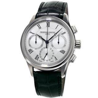 【康斯登 FREDERIQUE CONSTANT】自製機芯返馳式計時腕錶-銀(FC-760MC4H6)