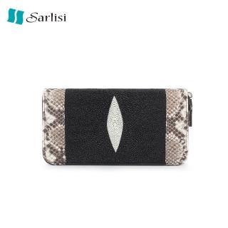 【Sarlisi】泰國珍珠魚皮蟒蛇邊單拉鍊手拿長夾(經典黑)