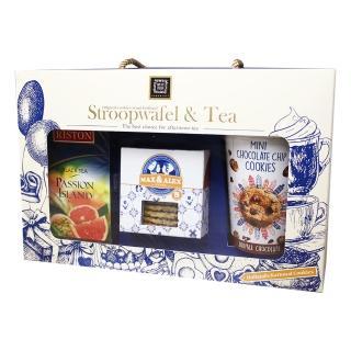 【Stroopwaf】歐洲假期焦糖煎餅下午茶禮盒(焦糖煎餅+巧克力小餅乾+熱情島嶼果香紅茶 賞味期:2021/05/18)